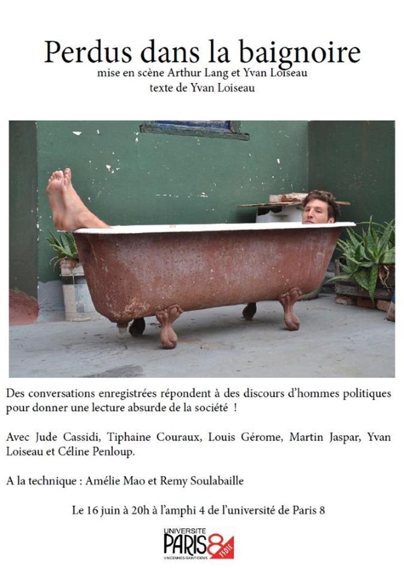 perdus dans la baignoire universit paris 8. Black Bedroom Furniture Sets. Home Design Ideas
